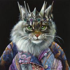 Wim Bals OIL. Anthropomorphic cat portrait.