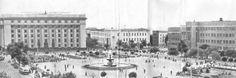 Панорама центральной площади – Ленина. Вместо сквера стоят одноэтажные постройки (совбольница и другие здания). Донецк, 1962 год<br>Нажмите на фото для увеличения