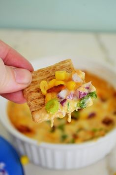 Spicy Bacon Corn Dip - This dip incorporates the best of all worlds, smoky bacon, crunchy sweet corn, a strong spicy kick and melty ooey gooey cheesy goodness.
