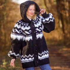 Hand Knitted Icelandic Mohair Wool Sweater Coat Nordic Cardigan SUPERTANYA L XL #SuperTanya #BasicCoat