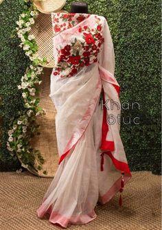 Khan Saab Designer Dhakai Jamdani Carnation Saree | Deshi Besh