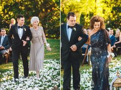 Me & Mr. Jones Wedding, Mother of the Bride, Grandmother of the Bride, Adrianna Papell Beaded Dress, Black Tie Wedding, Flower Petal Aisle, Rose Petals on Aisle