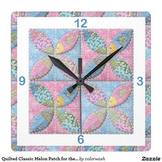 "Quilted Classic Melon Patch for the Quilter Clock - Here's a perfect clock for the quilter in your life. The ""Melon Patch"" pattern in sweet pink and blue will look wonderful in the craft room and would be a great addition to a fabric/quilt shop's wall. #quilts"