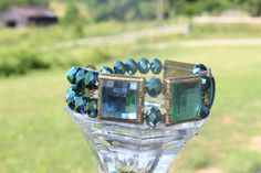 Blue and Green Large Square Crystal Bracelet by RubysJewelry1, $15.00