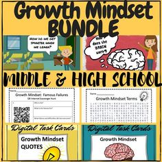 This NEW AND ENHANCED Growth Mindset Bundle is specifically geared toward the upper grades with only my most challenging growth mindset resources plus my popular famous failures QR code video scavenger hunt!