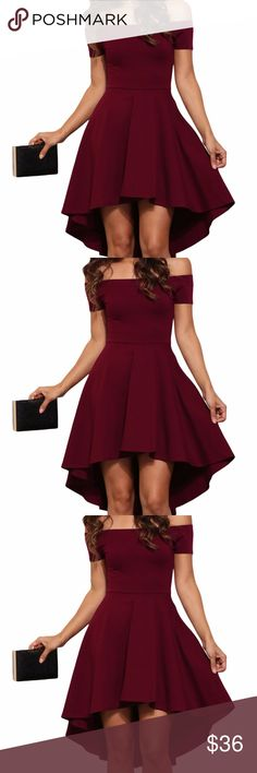 Burgundy Skater Dress Show off your amazing fashion sense with this dress which features an elastic off the shoulder neckline, a short sleeve, a slim  fitting bodice and a super cute skater skirt with a hi low hem. A definite stunner anyday due to it's slim waist, fitted bodice and  a super-cute flared skirt. All The Rage Skater Dress is a definite gorgeous and elegant wear for your next social activity.  D-19 Dresses Midi
