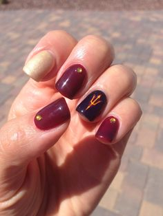 Nails for the ASU game!  Gelish polish and mini Arizona State pitchfork tattoos.