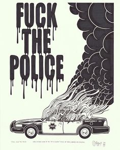 "Mike Giant (@ogmikegiant), FUCK THE POLICE, Ink on paper, 18"" x 24, 2015.  All…"