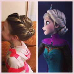 Frozen-obsessed tots will be excited to have their hair up just like Elsa's was during her coronation. Put a crown in it, and you'll really win her over.    Source: Instagram user missamerika04