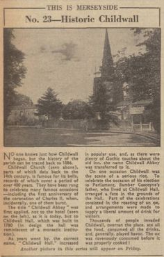 Childwall Liverpool History, Where The Heart Is, Vintage World Maps, City, Cities