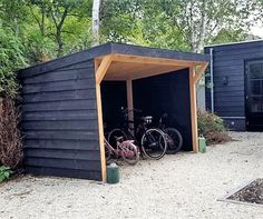 Bicycle shed Douglashout - Bicycle storage – customization – shower wood – black - Outdoor Bike Storage, Backyard Storage Sheds, Bicycle Storage, Shed Design, Deck Design, Garden Structures, Outdoor Structures, Corner Garden, Sloped Garden