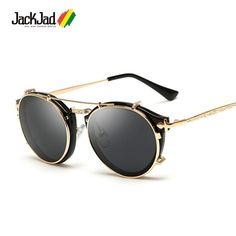 61aac1e474e6 JackJad 2018 Fashion Style SteamPunk Clamshell Removable Sunglasses Vintage  Retr  fashion  clothing  shoes