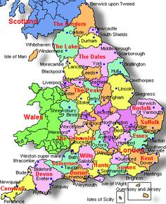 Map showing the counties of England in different colours, and the Countries of Wales and Scotland in two block colours.
