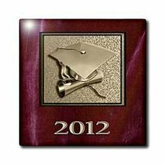 "2012 Gold and Red Cap and Diploma - 12 Inch Ceramic Tile by Beverly Turner Photography. $22.99. Dimensions: 12"" H x 12"" W x 1/4"" D. High gloss finish. Clean with mild detergent. Image applied to the top surface. Construction grade. Floor installation not recommended.. 2012 Gold and Red Cap and Diploma Tile is great for a backsplash, countertop or as an accent. This commercial quality construction grade tile has a high gloss finish. The image is applied to the top surface ..."