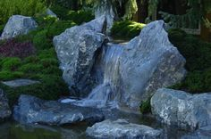 Image may contain: plant, outdoor, nature and water Waterfall Design, Garden Waterfall, Garden Forum, Moving Water, Garden Images, Beautiful Space, Over The Years, Japanese Gardens, Nature