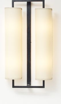 Iron wall light with stitched paper shades