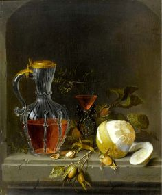 Jacob van Walscapelle — Still Life in a Niche with Lemon, a Flaçon de Venise Wine Glass, Chestnuts, Hazelnuts and a Glass Jug Dutch Still Life, Still Life Art, European Paintings, Old Paintings, Still Life Images, Dutch Golden Age, Painting Still Life, Old Master, Master Art