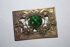 Brooch Chrysophase Brass 1920s Jewelry
