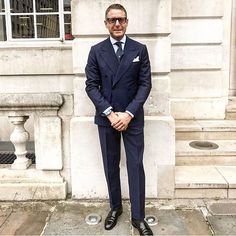 The power of the blue suit, @lapoindependent looks stunning in his double breasted  #Rubinacci #italiansdoitbetter