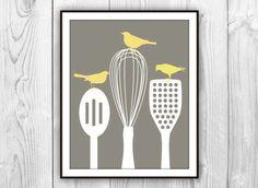 Birds on Kitchen Utensils Art Print - Modern Kitchen Decor - CHARCOAL Brown White  Yellow - Silhouettes via Etsy