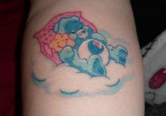 My bedtime bear tattoo :D got it feb. Care Bear Tattoos, Cute Tattoos, Tatoos, Piercing Ideas, Tim Burton, Bedtime, I Tattoo, Tattoos For Women, Tatting