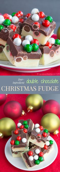 Four-Ingredient Double Chocolate Christmas Fudge - a quick and easy edible gift or sweet dessert bite for the holidays. Christmas Fudge, Christmas Sweets, Christmas Cooking, Noel Christmas, Christmas Cupcakes, Christmas Chocolates, Christmas Food Gifts, Vegan Christmas, Christmas Candy