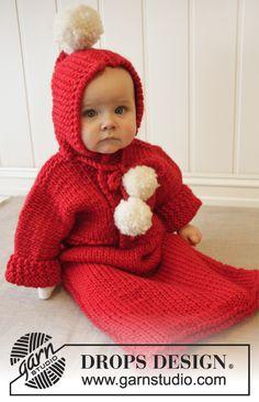 """Navidad DROPS: Saquito de bebé DROPS tejido en """"Eskimo"""". ~ DROPS Design"""