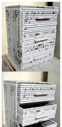 DIY Drawers out of newpapers or magazines…I could only find the picture.I hop… DIY Drawers out of newpapers or magazines…I could only find the picture.I hope one day I can find the step by step.great idea though 종이 Newspaper Basket, Newspaper Crafts, Recycled Magazines, Recycled Crafts, Recycled Jewelry, Fun Crafts, Diy And Crafts, Paper Weaving, Diy Drawers