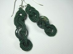 Bottle Green Dangle Crochet Earrings by ShuvalAccessories on Etsy Couple Mugs, Couple Gifts, Crochet Bracelet, Crochet Earrings, Etsy Jewelry, Unique Jewelry, Panda, Peeps, Dangles
