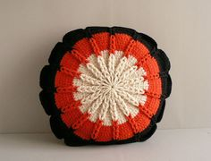 Crocheted Circle Pillow,  Black Ivory, Red
