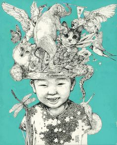 by higuchi yuko Illustration Story, Illustration Sketches, Brain Art, Fairytale Art, Sketchbook Inspiration, Detail Art, Cat Drawing, Japanese Art, Dark Art