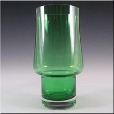 Riihimaki/Riihimaen Lasi Oy Finnish Green Glass Vase - £13.49
