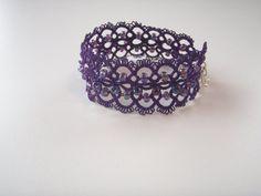 Purple Cuff Lace Bracelet in Tatting by tattingblackkitty on Etsy Lace Bracelet, Beaded Bracelets, Tatting Jewelry, Purple Glass, Lace Making, Beaded Lace, Dark Purple, Bracelet Making, Glass Beads