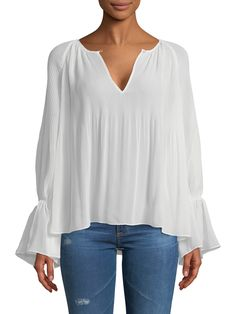ELLA MOSS Pleated Peasant Top, White
