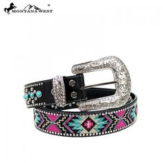 Montana West Aztec Design Western Belt Pink