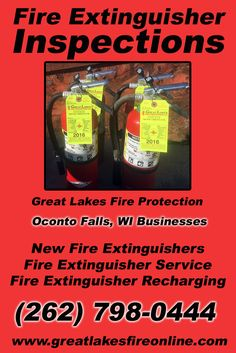 Fire Extinguisher Inspections Oconto Falls, WI (262) 798-0444 We're Great Lakes Fire Protection. Call Today and Discover the Complete Source for all Your Fire Protection!