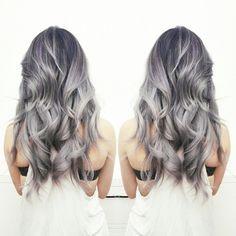 Highlights. Black + Violets + Grey Silver. #dearmijuhair