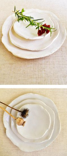 Lee Wolfe Pottery — White nesting plates