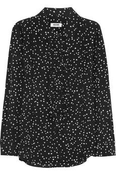 Moschino Cheap and Chic Ruffle-trimmed star-print silk blouse | NET-A-PORTER