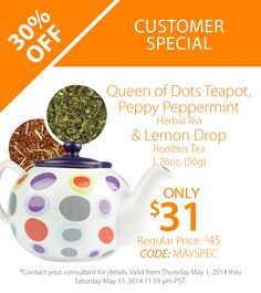 Guests who attend Steeped Tea parties will receive off* the Customer Special: Queen of Dots Teapot Peppy Peppermint Herbal Tea Lemon Drop Rooibos Tea Tea Recipes, Cocktail Recipes, Buy Tea, Loose Leaf Tea, Tea Accessories, Herbal Tea, Peppermint, Tea Time, Tea Party