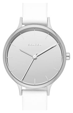 Skagen 'Anita' Leather Strap Watch, available at Skagen Watches, Analog Watches, Jewelry Mirror, Best Watches For Men, Stainless Steel Jewelry, Leather Jewelry, Silver Jewellery, Bracelet Watch, White Watches