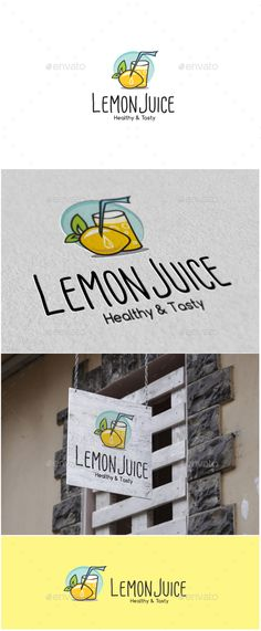 Buy Lemon Juice Logo by MS_designer on GraphicRiver. Lemon Juice Logo -AI and EPS file -CMYK mode vector and resizable -Easy to edit color and text -Lemon Juice Log. Healthy Prawn Recipes, Healthy Food List, Healthy Eating For Kids, Kids Diet, Healthy Juices, Food Logo Design, Best Logo Design, Logo Food, Graphic Design