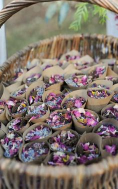 Potpourri to toss when bride and groom exit (instead of rice, sparklers, or confetti). Lavender & rose buds