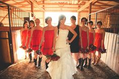 A wedding with real kick!  Lovin' the red bridesmaids dresses, black maid of honor .... and the COWBOY BOOTS!  oklahoma city wedding photographer - justin battenfield photography