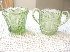 Vintage Depression Glass Sugar Bowls  green by Vintagegirlsfinds, $13.00 Mother's Day Sale ~ Take 10% off your entire purchase 5/5 only!