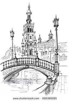 Plaza of Spain in Seville, Andalusia, Spain, Europe Travel sketch Hand drawn book illustration, touristic postcard or poster - Books Interior Architecture Drawing, Architecture Drawing Sketchbooks, Watercolor Architecture, Landscape Architecture, Renaissance Architecture, Landscape Sketch, Landscape Drawings, City Drawing, City Sketch