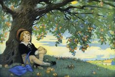 Jesse Willcox Smith - Boy Under an Apple Tree - art prints and posters