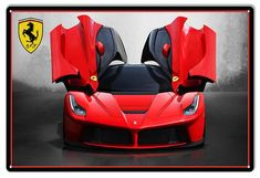 Red Wings Ferrari Hot Rod Reproduction Sign 12x18