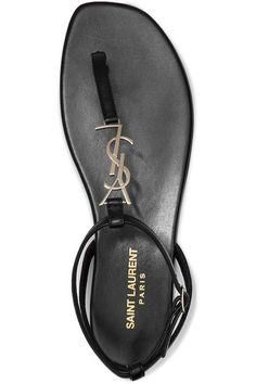 Saint Laurent - Embellished Leather Sandals - Black - IT38.5