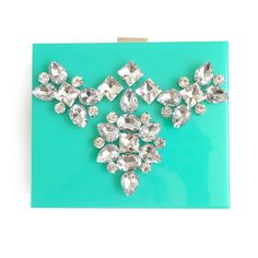 Mint Lucite Bejeweled Clutch